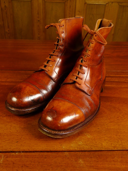 20/0031 wonderful VINTAGE 1940S 1950S anatomical boot company birmingham mahogany brown golfing / country boots w/ studded sole and original inserts UK10