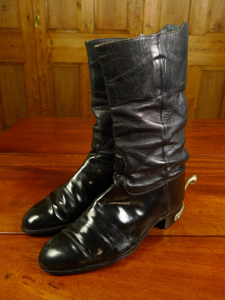 20/0037 VINTAGE CONWAY WILLIAMS CUSTOM GRADE black leather wellington boots w/ swan neck spurs uk 8