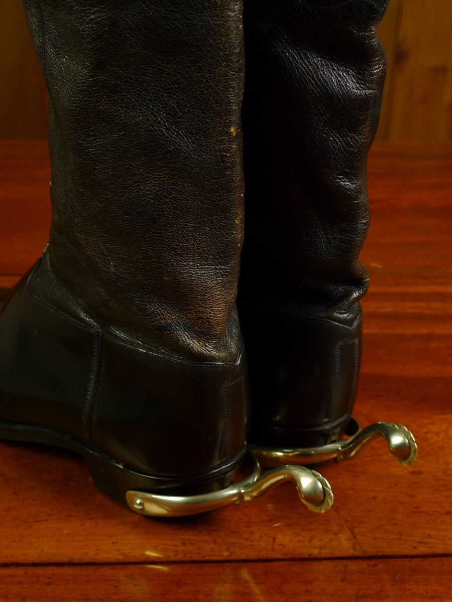 20/0038 VINTAGE anatomical boot company ltd leather wellington boots w/ swan neck spurs uk 9