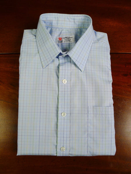 20/0042 immaculate turnbull & asser blue/ gold / lime check short sleeve cotton shirt bespoke 16.25