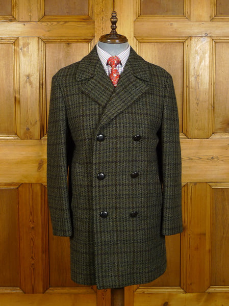 20/0048 near immaculate vintage aquascutum green / brown glen check scottish tweed pea coat w/ tartan lining 40-41 regular
