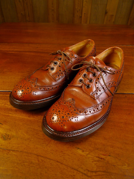 20/0065 wonderful vintage trickers heavyweight brown brogue bourton shoe 8.5