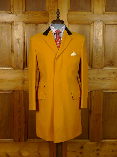 20/0076 beautiful cordings piccadilly mustard yellow melton wool covert coat w/ contrast collar 39-40