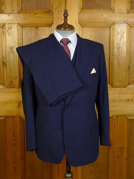 20/0080 immaculate welsh & jefferies navy blue wool 3-piece suit 44-45 short