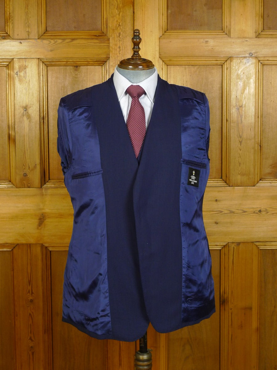 20/0080 immaculate welsh & jefferies savile row bespoke navy blue wool 3-piece suit 44-45 short
