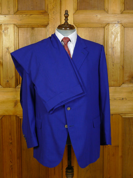20/0079 stunning welsh & jefferies violet blue wool suit w/ mother of pearl buttons 50-51 short