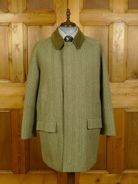 20/0086 immaculate grenfell green / red stripe derby tweed field coat w/ wool lining 46