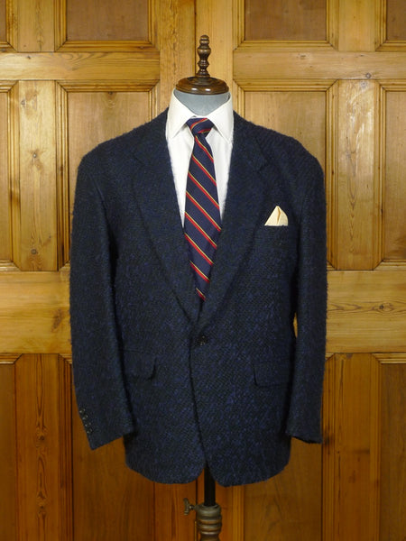 20/0091 immaculate distinctive christian dior wool & 25% mohair texture blue blazer 44 short
