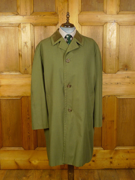 20/0095 immaculate grenfell cotton mix 2-tone green field coat raincoat w/ faux alpaca style removable liner 50 / XXL