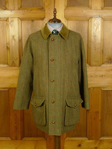 20/0098 superb invertere green wp check derby tweed field coat shooting jacket w/ wool lining 42-44