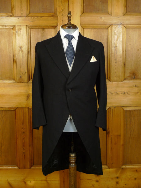 20/0109 immaculate vintage canvassed heavyweight black wool morning coat 39-40 regular to long