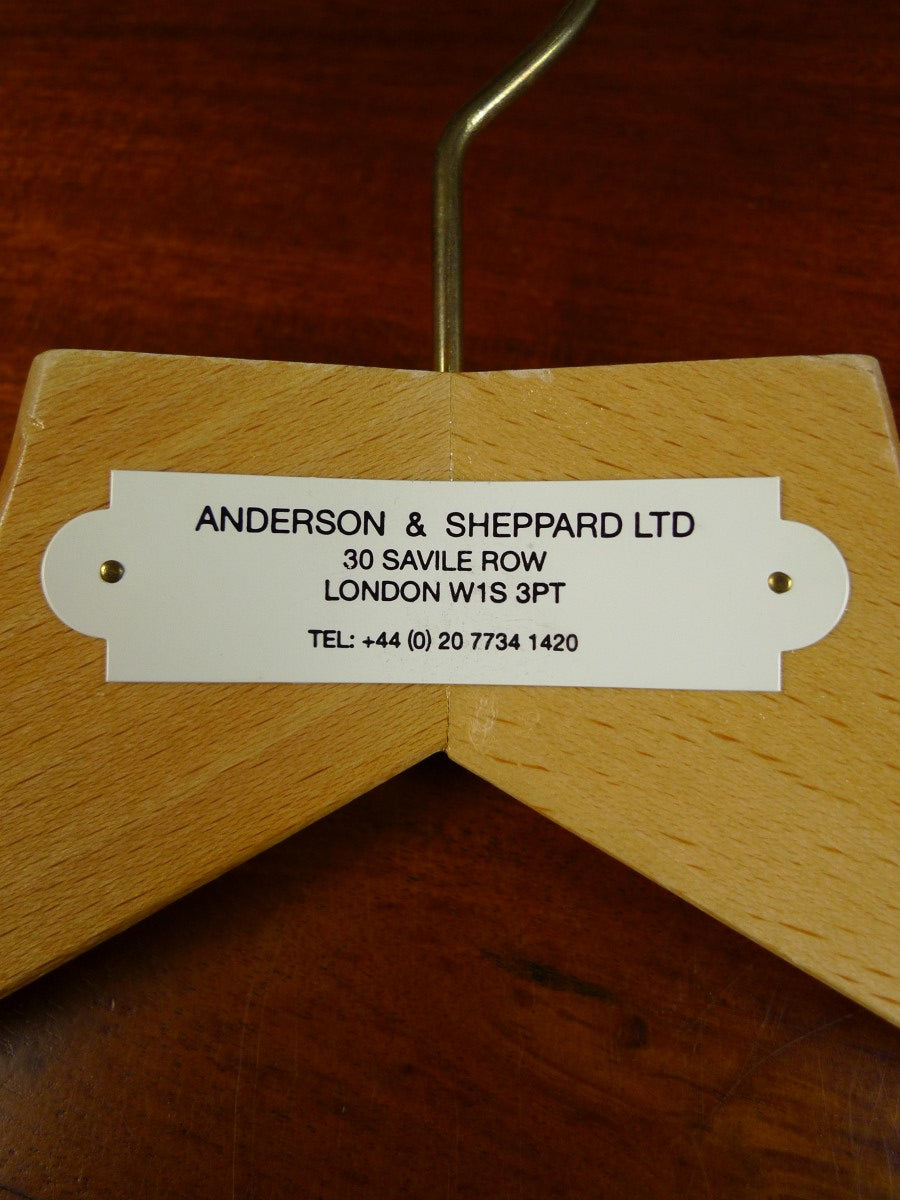 20/0119 near immaculate anderson & sheppard savile row bespoke wooden suit hangers - 8 available at time of listing