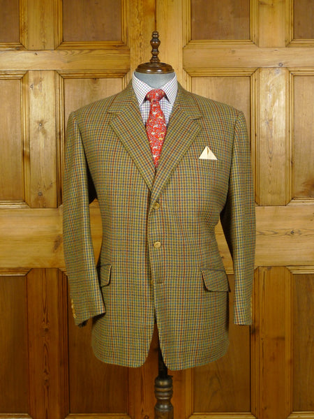 20/0140 immaculate 1996 gieves & hawkes savile row bespoke pure cashmere gun check sports jacket blazer 48 short to regular
