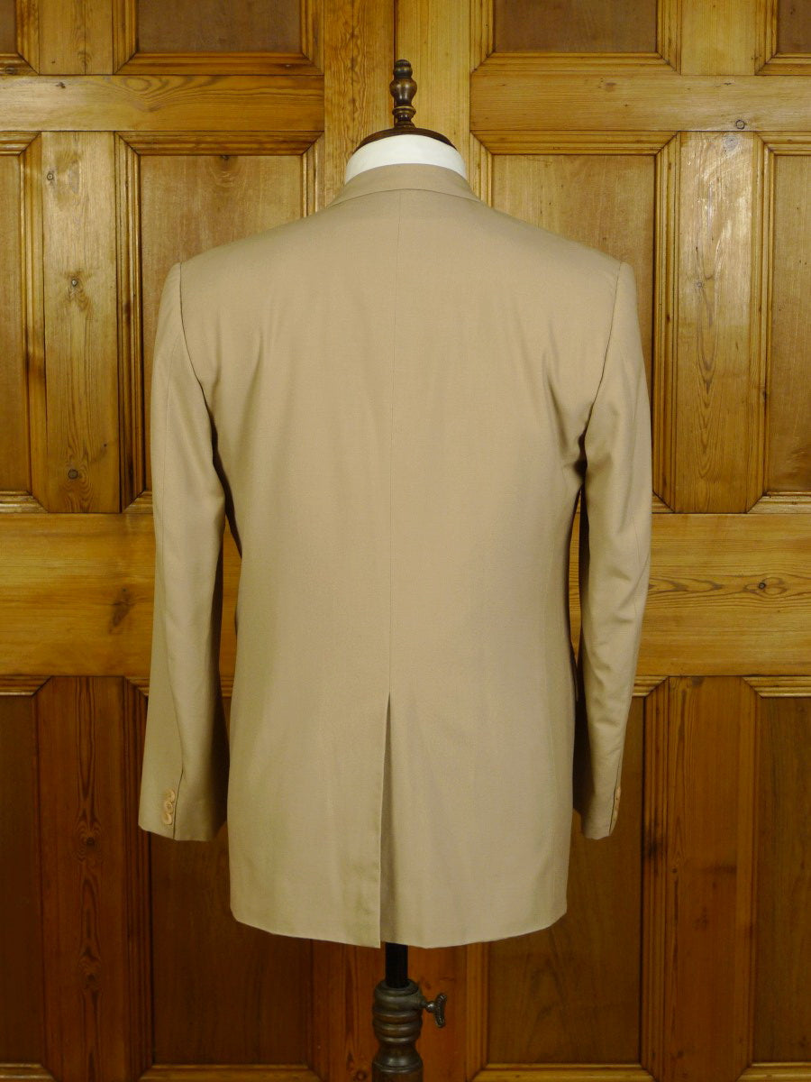 20/0152 vintage bespoke tailored canvassed beige wool blazer w/ mother of pearl buttons 41 regular