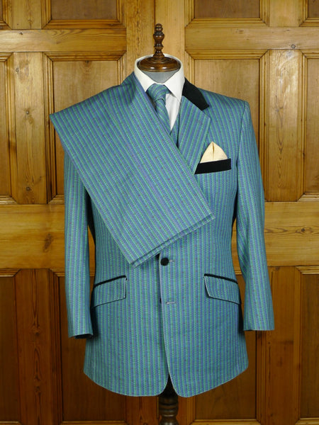 20/0165 amazing 2017 bespoke tailored cotton & silk 4-piece suit w/ velvet collar made for famous dandy 44 regular