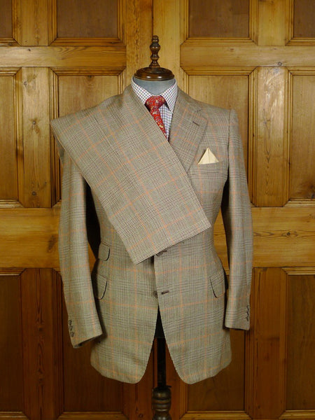 20/0197 vintage bernard weatherill bespoke beige glen check town & country worsted suit 41 regular