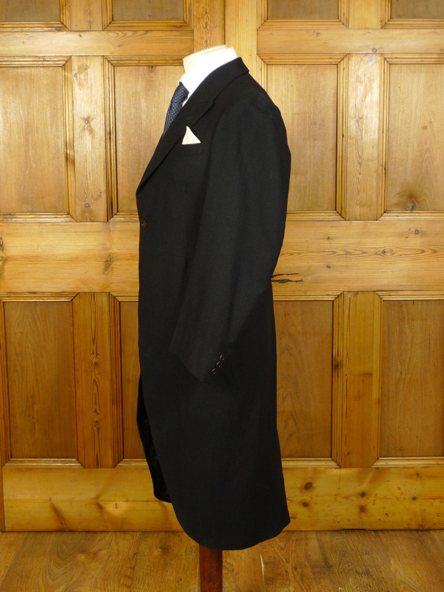 20/0221 vintage heavyweight canvassed black barathea wool morning coat 37 long