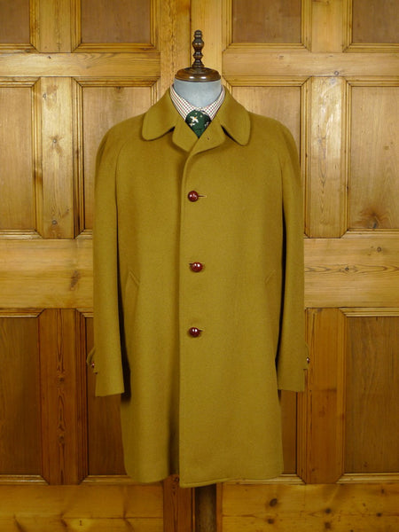 20/0223 vintage invertere tan brown wool country coat w/ tattersall check lining 42-44