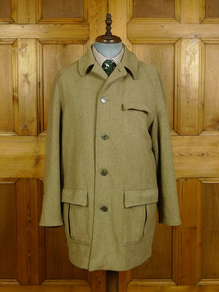 20/0224 superb vintage heavyweight invertere keepers tweed field coat w/ tattersall check lining 40