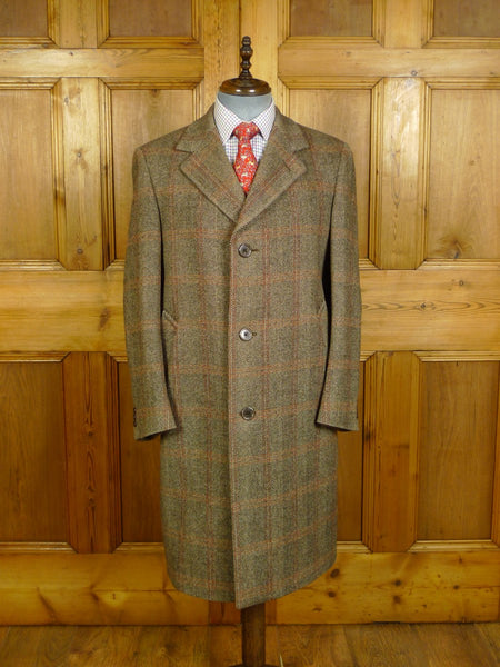 20/0226 superb near immaculate vintage aquascutum brown / red windowpane check tweed coat 40-42 regular