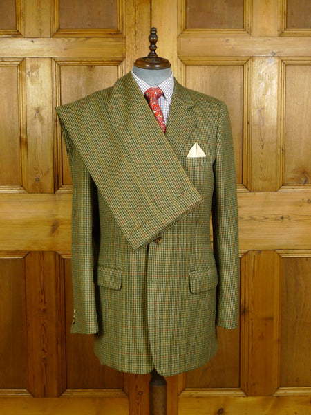 20/0233 immaculate bespoke tailored green / red & amber gun club check tweed suit 41 extra long