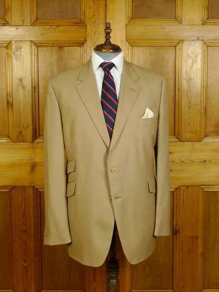 20/0232 modern gieves & hawkes savile row canvassed tan beige wool blazer 47 long