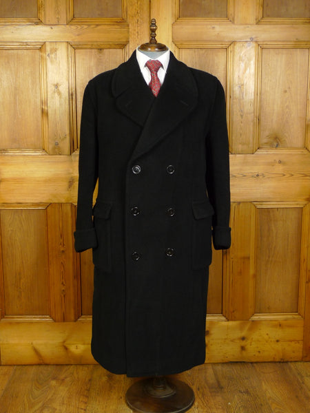 20/0237 extra heavyweight genuine 1950s 1960s vintage textured black wool d/b overcoat w/ 2-part back-strap 46