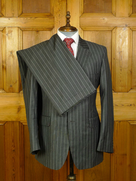20/0305 genuine crombie grey rope-stripe wool suit w/ red linings 41 regular