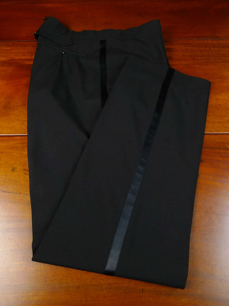 20/0229 vintage london bespoke tailor black mohair high-rise evening trouser 37