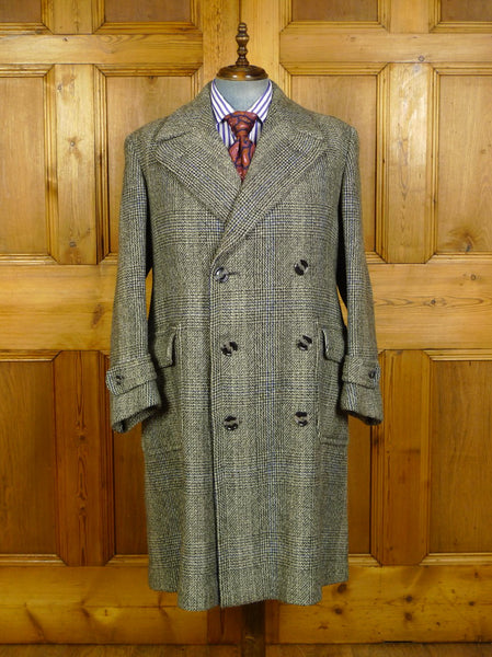 20/0071 exceptional genuine 1940s vintage cc41 mark heavyweight d/b tweed overcoat w/ back strap 42-44