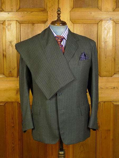 20/0134 anderson & sheppard 2005 savile row bespoke grey pin-stripe wool suit 46 regular