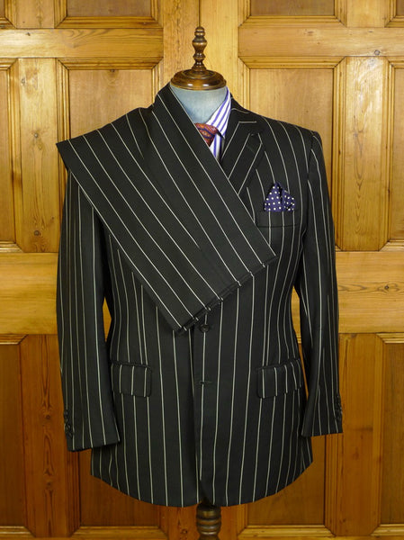 19/1408 welsh & jefferies 2006 savile row bespoke black worsted pin-stripe suit w/ contrast linings 45 regular