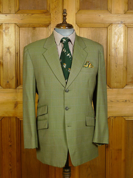 19/1763 immaculate sam's tailor bespoke canvassed green graph check wool sports jacket 44-45 short to regular