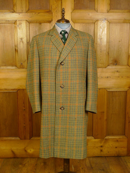 20/0244 heavyweight 1967 vintage bespoke tailored gun club check tweed coat overcoat 46