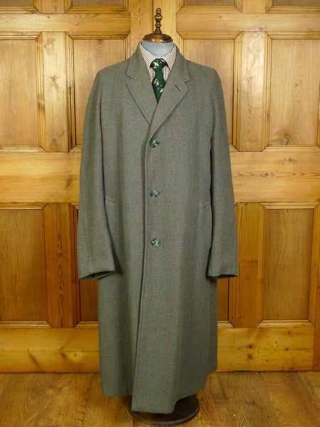 20/0247 vintage 1959 vintage gieves savile row bespoke green / red windowpane check full-length SCOTCH tweed overcoat 44-46 extra long