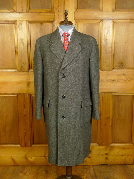 20/0245 heavyweight 1950s vintage simpson of piccadilly green tweed overcoat w/ tartan backing 43-44 long
