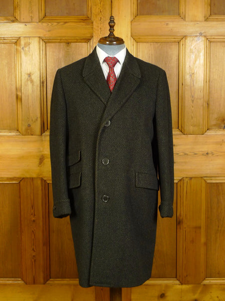20/0282 wonderful 1960s vintage daks crombie wool chequer pattern heavyweight wool & cashmere overcoat 42-44 regular