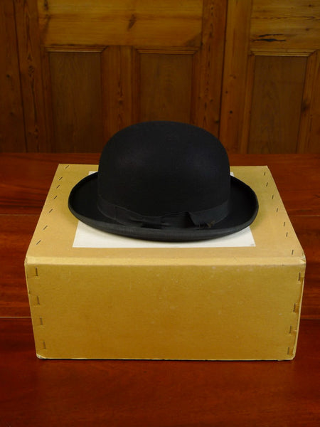 20/0320 vintage 1940s 1950s british black felt bowler hat uk 7