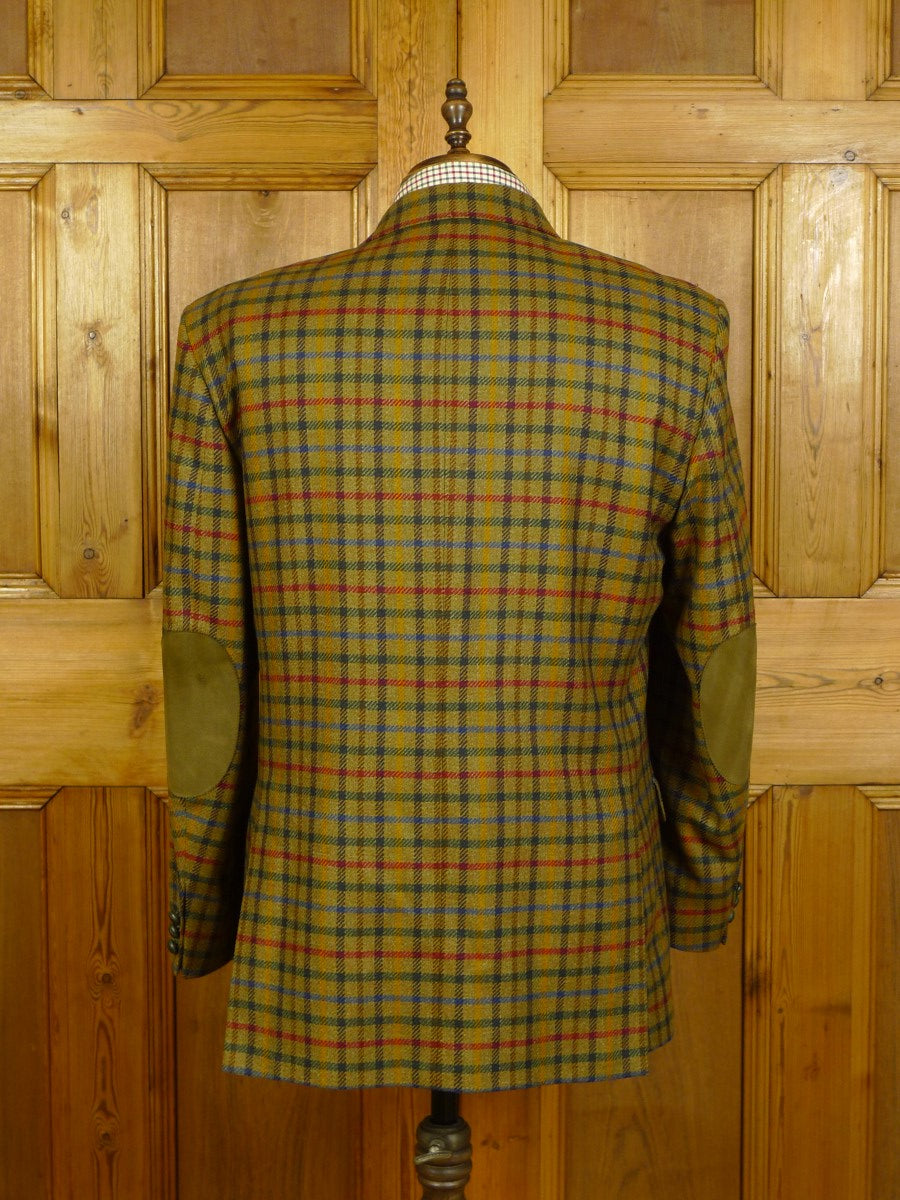 20/0285 near immaculate daks gun check tweed sports jacket w/ suede elbow patches & trims 45 short to regular