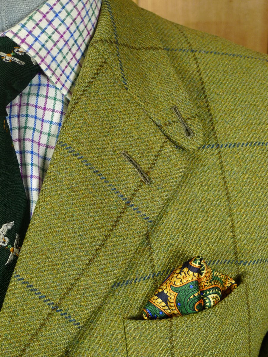 20/0331 superb vintage dege savile row bespoke heavyweight green wp check tweed hacking jacket w/ ghillie collar 41-42 regular