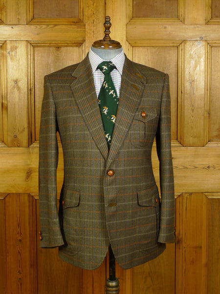 20/0334 immaculate daks gun check tweed norfolk jacket w/ leather buttons & suede elbow patches 42 regular