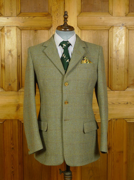 20/0335 exceptional vintage redmayne cumbria bespoke heavyweight green wp check tweed jacket w/ ghillie collar & staghorn buttons 41 regular to long