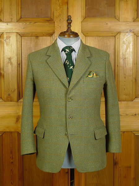20/0339 vintage bespoke tailored john g hardy alsport green / amber wp check tweed jacket 41-42 extra short