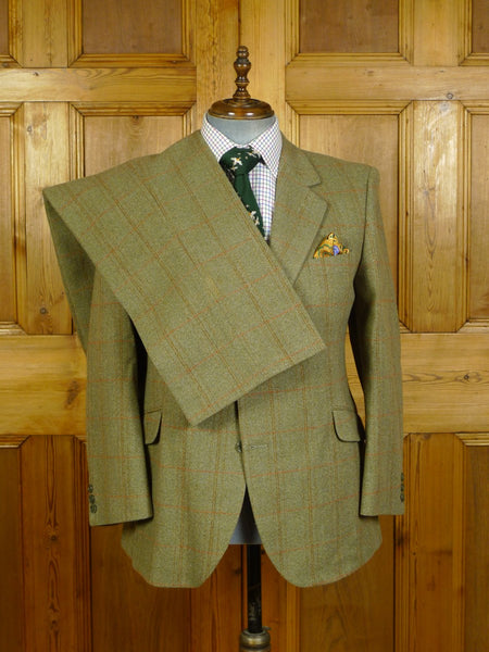 20/0357 immaculate heavyweight john g hardy green / red windowpane check tweed suit 39 short