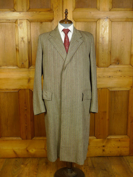 20/0354 beautiful genuine 1940s vintage  ww2 era CC41 utility label full length herringbone overcoat 40 extra long