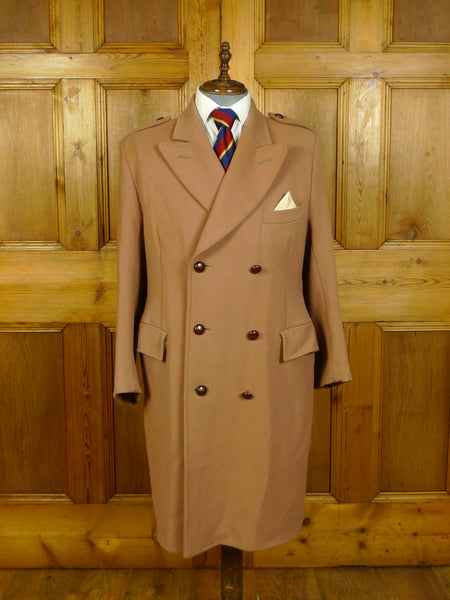 20/0358 superb vintage heavyweight tan beige brown cavalry twill british warm style overcoat 44 regular