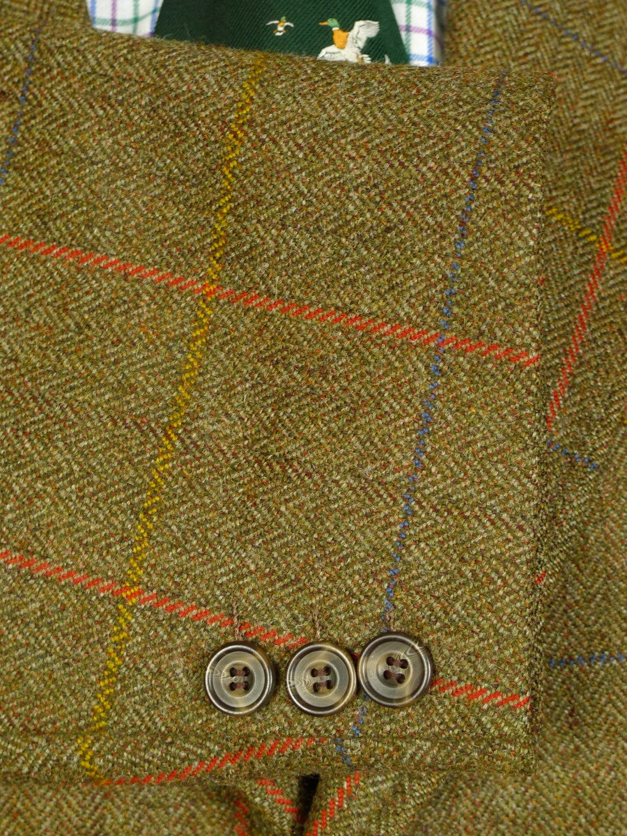 20/0361 immaculate vintage tailor made green windowpane  check tweed country jacket 45-46 short