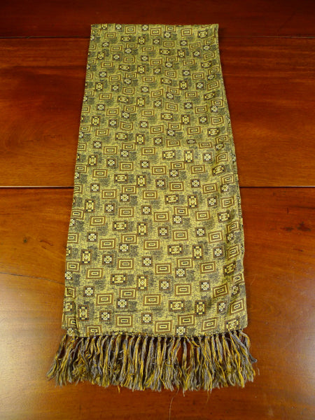 20/0366 immaculate vintage tootal mustard & bronze geometric pattern scarf