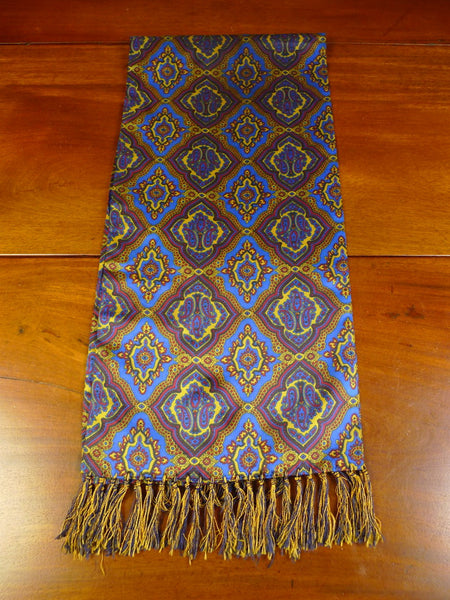 20/0364 vintage tootal blue, gold & maroon silk scarf