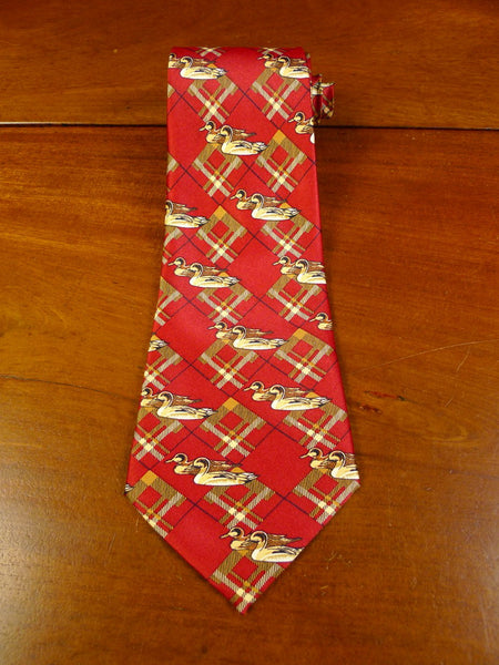 20/0373 immaculate rene chagal red gold wildfowl design silk tie